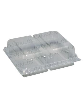 Plastbakke m/hængslet låg 2-rums smørrebrød