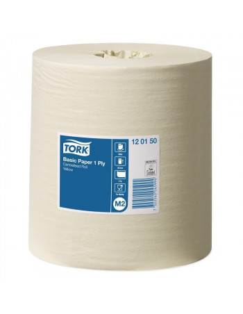 Aftørringspapir Tork Basic M2 1-lags gul 300m 6rul/krt