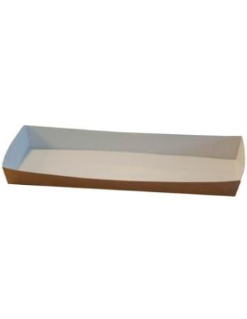 Pølsebakke med kant 200x90x20 mm brun/hvid 6x100stk/ps.