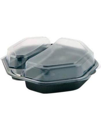 Plastbakke Mealbox 2-rum 19x19x6cm m/hængslet låg 170stk/kar