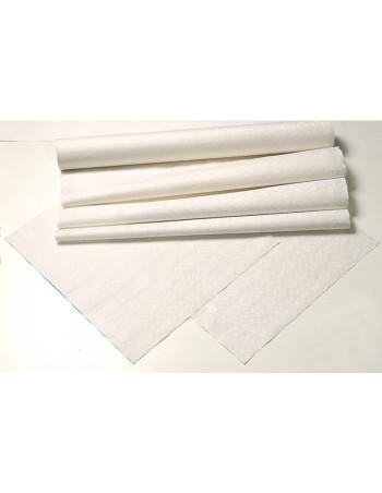 Stikdug lamineret hvid m/mønster 90x90cm