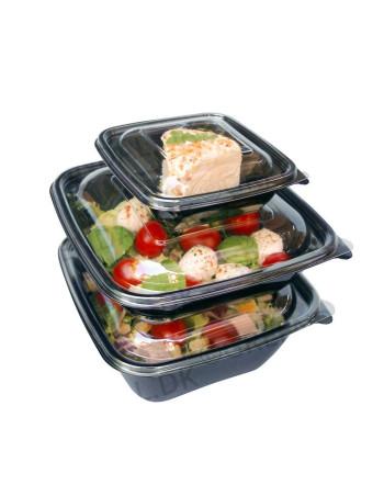 Salatbakke SquarePac m/ hængslet låg Sort -