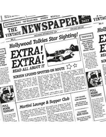 Burgerpapir Greaseproff Old News 300x300mm 40 gr -