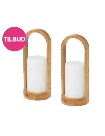 Lysestage t/LED Duni Bamboo 4stk/kar