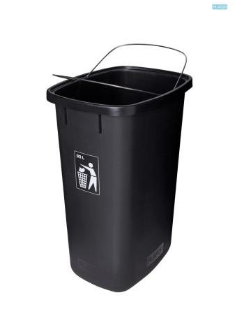 Affaldsbeholder åben låg 90L Sort -