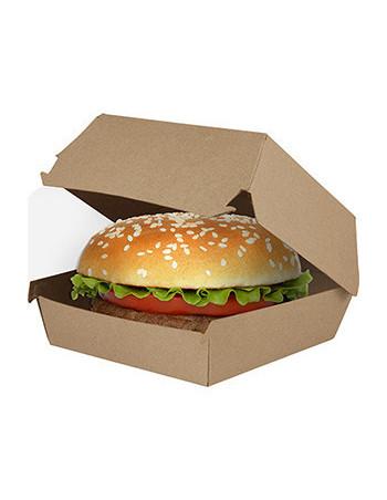 Burgerboks 12x12x8cm Kraft brun/hvid