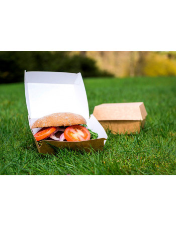Burgerboks 12x12x8cm Kraft brun/hvid -