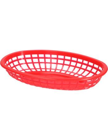 Kurv oval 23.5x14.9x5.08cm PE Rød 12stk/pakke