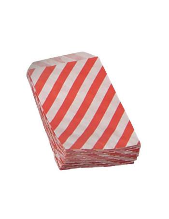 Konfektpose hvid m/rød striber 1000stk/pak -