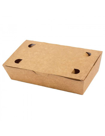 Pølseæske m/låg stor brun 20x14x5cm 4x100stk/kar