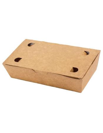 Pølseæske m/låg stor brun 20x14x5cm 4x100stk/krt
