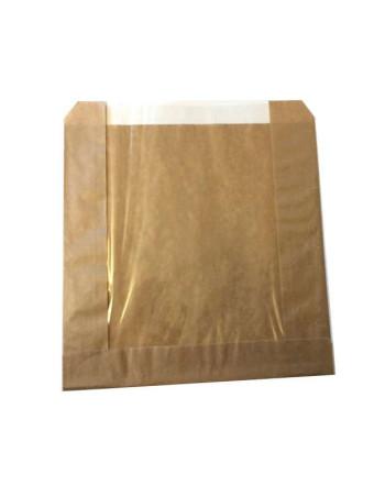 Sandwichpose brun 210x215mm med rude 250stk/pak