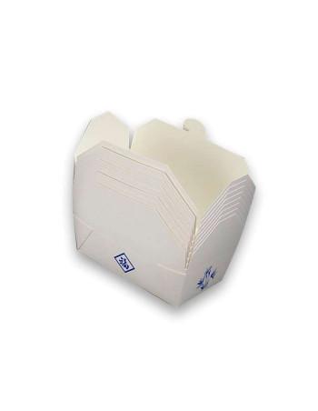 Kinaæske Hvid m/mønster (Nudelbakke) Pap -