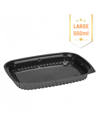 Sushi tray L (Blue) Oval Bund/Lid black 500pc/box -